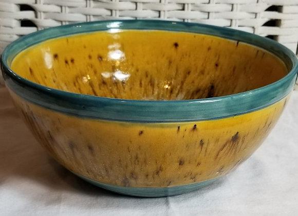 #P85- Yellow & Teal Bowl
