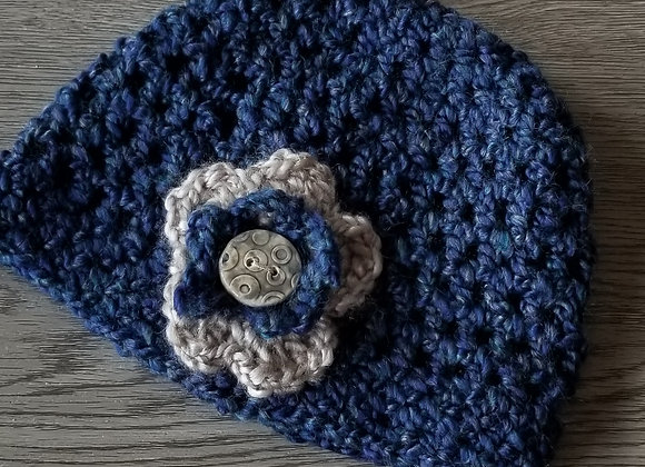 #KCH10 - Crocheted Cloche Teal/Linen Round Button