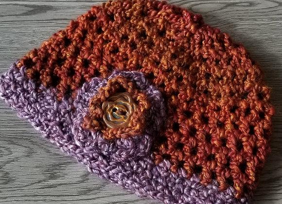 #KCH07 - Crocheted Cloche Hat Rust/Purple Rust Rose Button