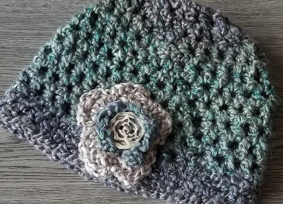 #KCH08 - Crocheted Cloche Hat Turq/Linen Rose Button