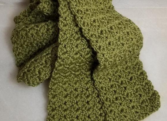 #KC11 - Crocheted  Green Long Scarf