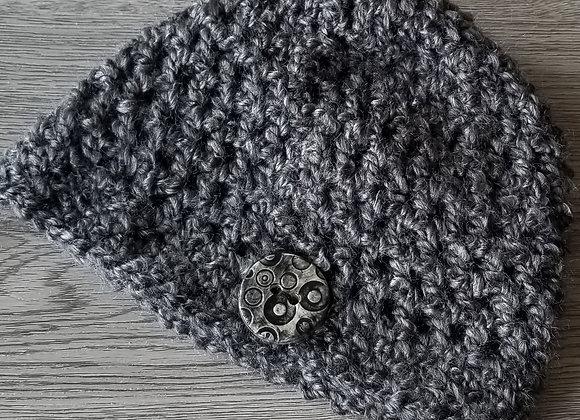 #KCH11 - Crocheted Cloche Charcoal Round Button