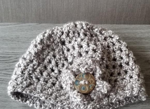 #KC34 - Crocheted Cloche Hat Linen Taupe Button