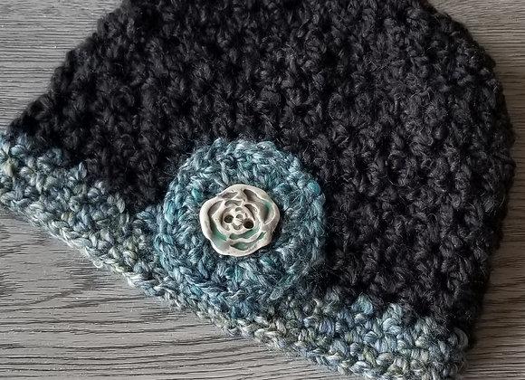 #KCH09 - Crocheted Cloche Hat Black/Turq Rose Button