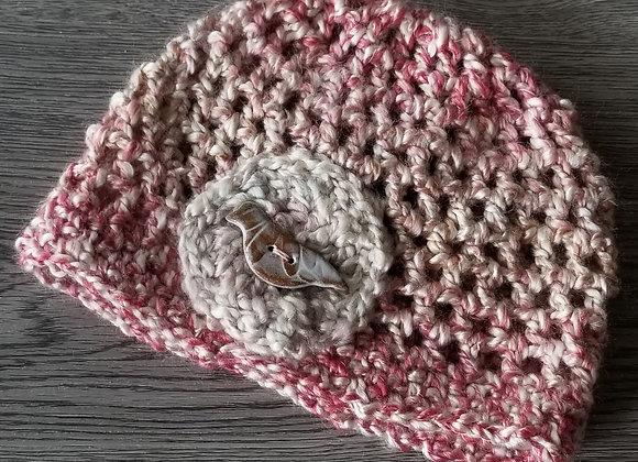 #KCH14 - Crocheted Cloche Pink Varigated Bird Button