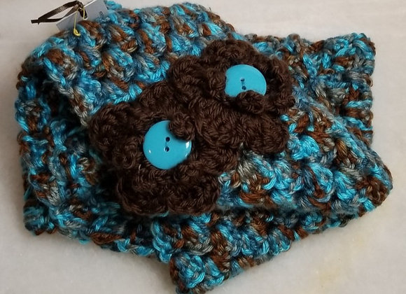 #KC10 - Crocheted  InfinityTurq/Brwn Scarf