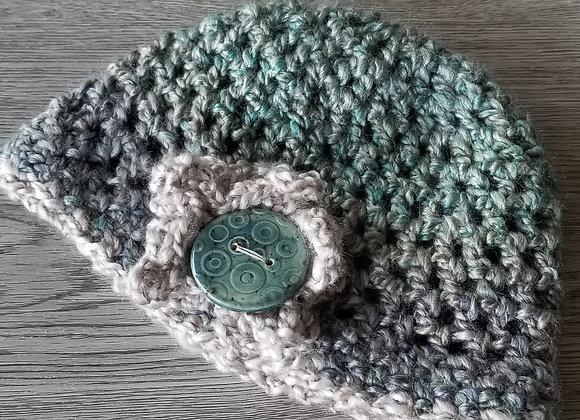 #KCH16 - Crocheted Cloche Turq/Linen Lg Rnd Button