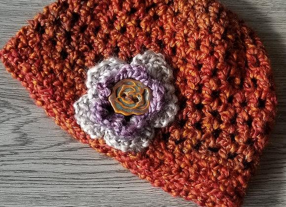 #KCH04 - Crocheted Cloche Hat Rust/Linen/Turq
