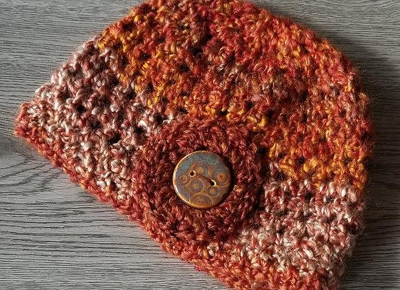 #KCH05 - Crocheted Cloche Hat Rust Varigated Rust Button