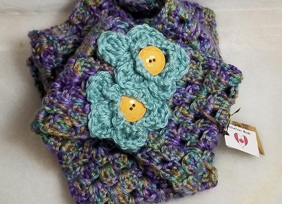 #KC8 - Crocheted  Infinity Purp/Grn Scarf