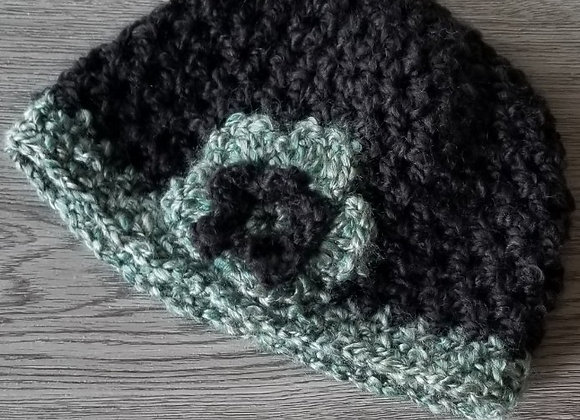 #KCH15 - Crocheted Cloche Black/Turq
