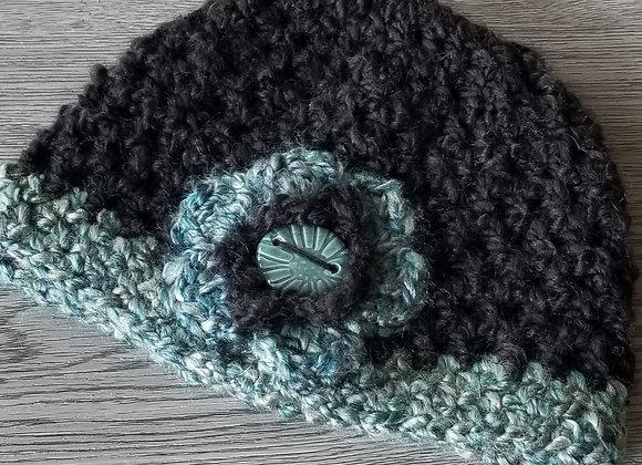 #KCH17 - Crocheted Cloche Turq/Blck Turq Button