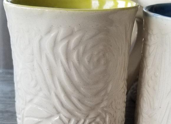 #P167 - White Textured Mugs Set of 4