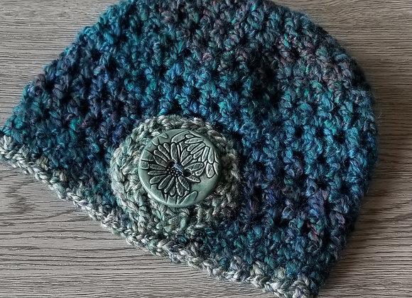 #KCH13 - Crocheted Cloche Teal/Turq Lg Round Button
