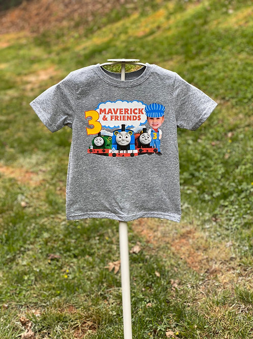 Thomas and Friends Train Custom Photo Birthday T-Shirt