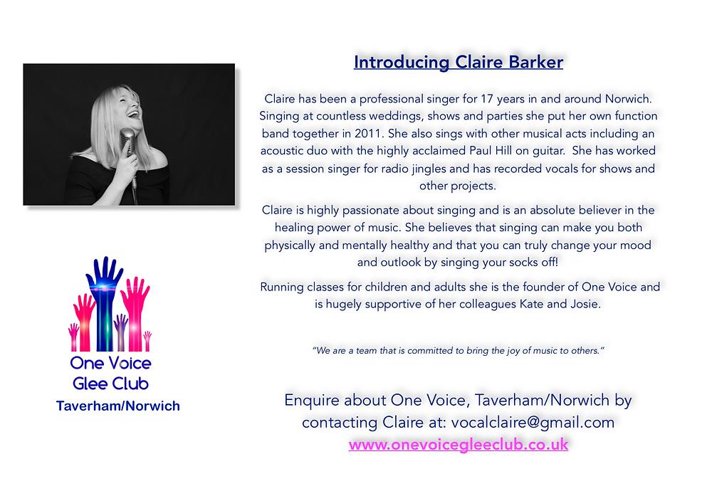 Claire Barker - One Voice Taverham/Norwich