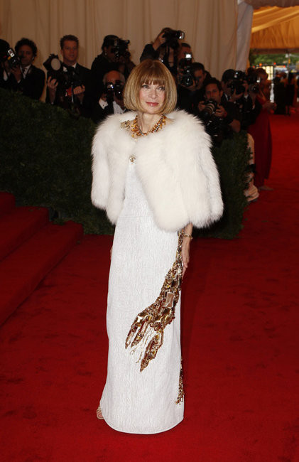 "Anna Wintour paying tribute to Schiaparelli in a Prada lobster-motif dress for the 2012 Met Gala, where the ""Schiaparelli and Prada: Impossible Conversations"" exhibition kicked off"