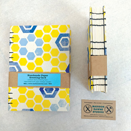 Honeycomb Sketchbook - Large Blue Coptic Stitch
