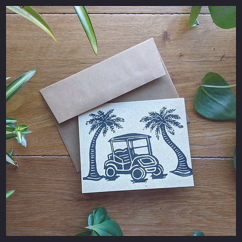 Golf Cart & Palm Trees Card