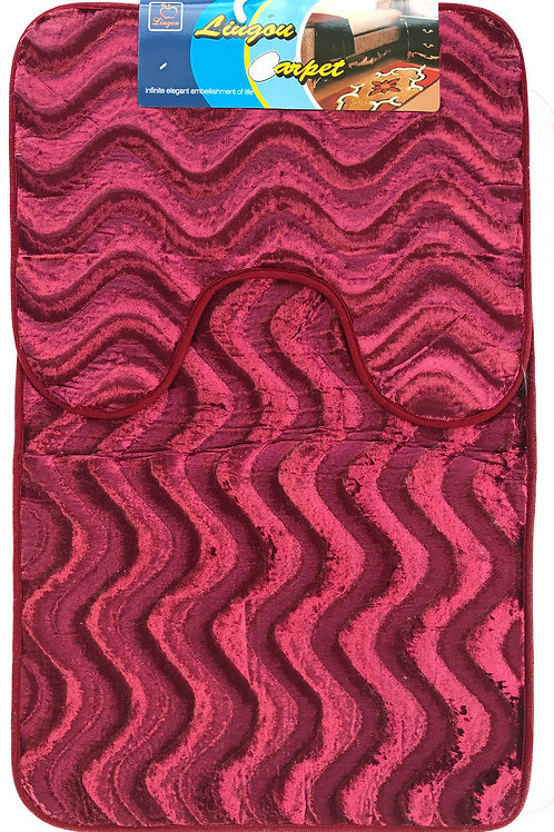 Anti Slip Bath Pedestal Mat set wavy shimmery velvet wine red