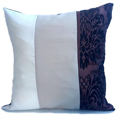 "Three Tone Damask Cushions Brown 17""x 17"""