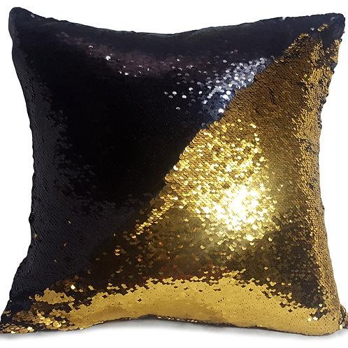 Magic sequin mermaid reversible two tone glitter home car sofa cushion or cover Black gold