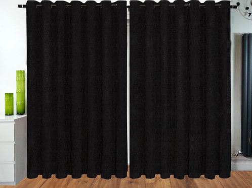 Plain Chenille ring top eyelet curtains Black