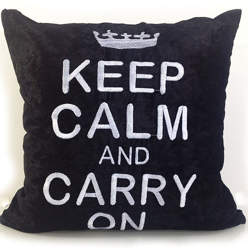 Keep calm and carry on Embroidered cushions-Black