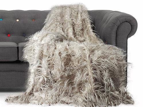 Shaggy Long Faux Fur Throw over Sofa Bedspread Fluffy 150x200cm BEIGE