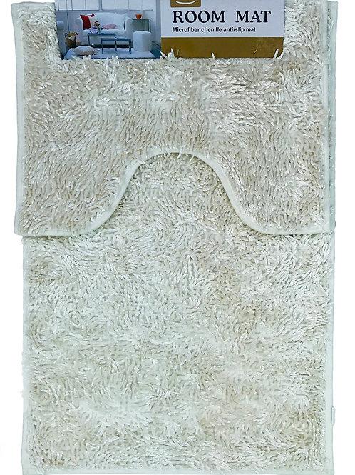 Sparkle chenille Bath and Pedestal Mat Sets Anti Slip Cream