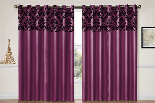 "Flock damask Purple eyelet curtains 90"" X 90"""