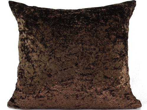 "Plain Crush Velvet Cushions Brown 17""x 17"""
