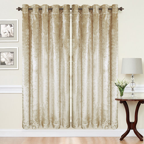 Crush Velvet ring top eyelet lined curtains Cream