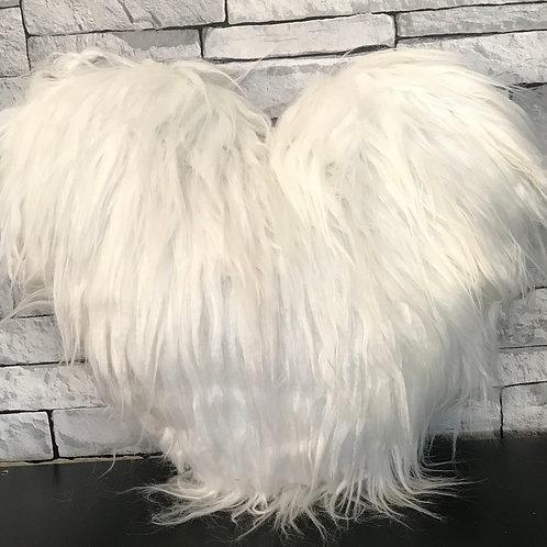 Love HEART SHAPED long Shaggy faux fur Filled cushions WHITE