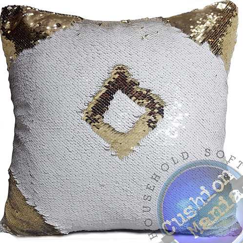 Magic sequin mermaid reversible two tone glitter home car sofa cushion or cover gold white