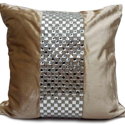 Designer cushions velvet Square diamante Beige Latte
