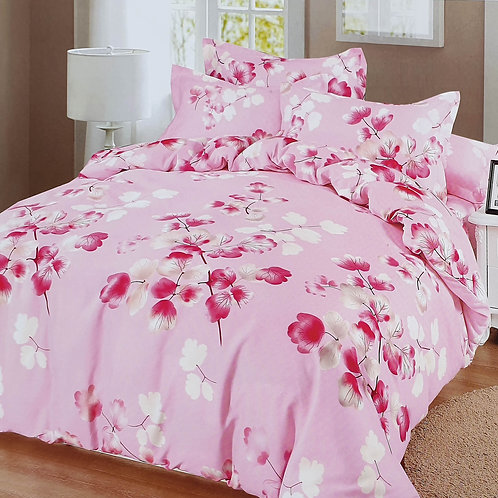 Duvet Cover set 90 GSM quality Double King size BRANCHES PINK