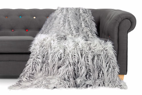 Shaggy long faux fur sofa bed throwover Silver
