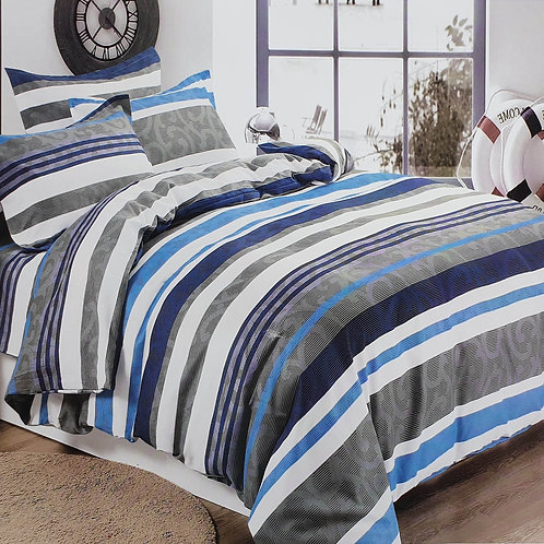 Duvet Cover set 90 GSM quality Double King size Stripe Blue White