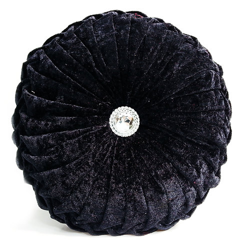 Crush velvet Round Diamante filled cushions-BLACK