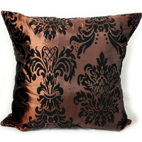 "Flock Damask cushions Brown,17""x 17"",21""x 21"",23""x 23"""