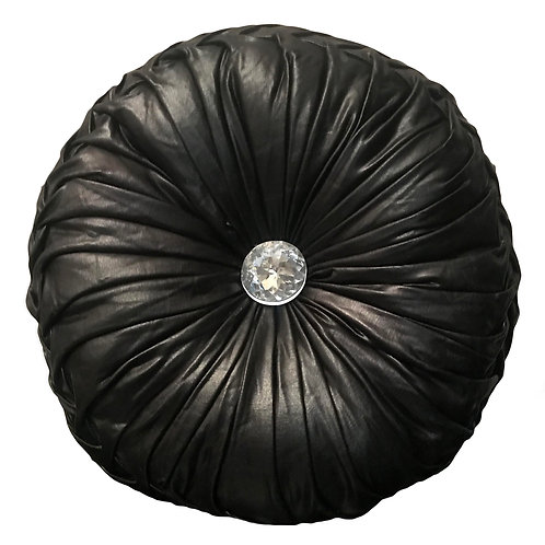 Round Cushion Luxury Diamante Chic Filled SHINY Black