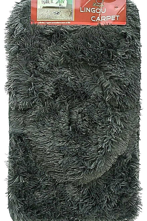 3 piece Bath Pedestal Mat set shaggy fur Soft Anti Slip GREY