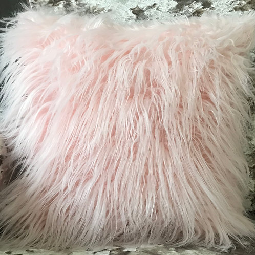 long Shaggy faux fur cushions or covers PINK