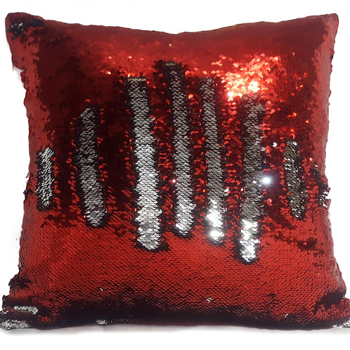 Magic sequin mermaid reversible two tone glitter home car sofa cushion or cover RED