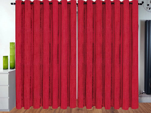 Plain Chenille ring top eyelet curtains Red