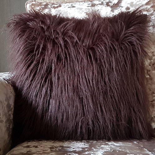 Long Shaggy Faux fur Cushion covers or Cushions Winter cushions Brown