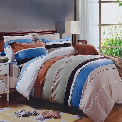 Duvet Cover set 90 GSM quality Double King size Stripe Brown Blue