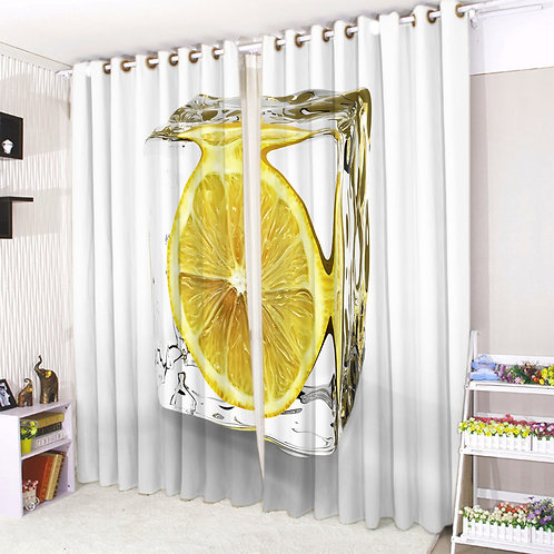 Pair of Eyelet Ring Top Curtains 3D Lemon