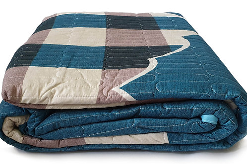 3 Piece Quilted Bedspread Throw Comforter Set Check Double King TEAL